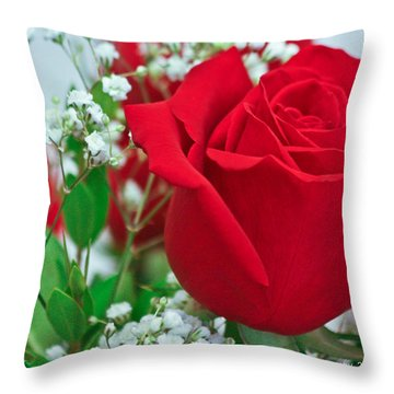 One Red Rose Throw Pillow by Ann Murphy