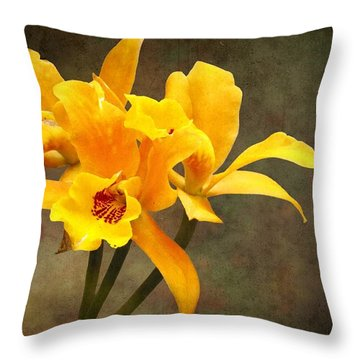 Orange Spotted Lip Cattleya Orchid Throw Pillow by Rudy Umans