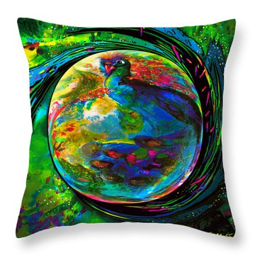 Orb Of Pavone Throw Pillow by Robin Moline