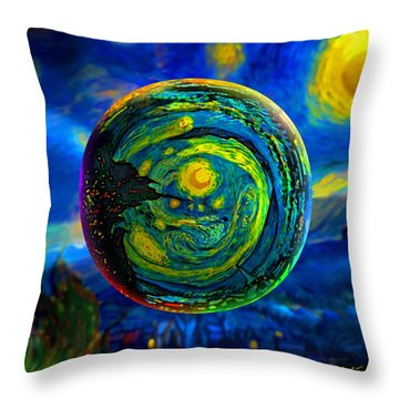 Orbiting A Starry Night  Throw Pillow