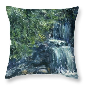 Throw Pillow featuring the painting Oregon Waterfall by Lynne Wright