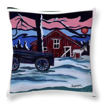 Outside The Barn Throw Pillow