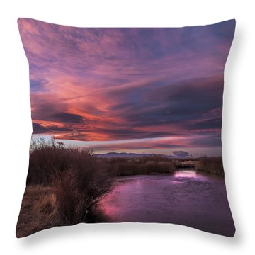 Owens River Sunset Throw Pillow