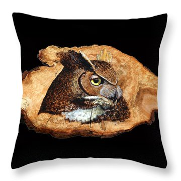 Throw Pillow featuring the pyrography Owl On Oak Slab by Ron Haist