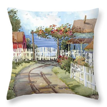 Pacific Out Back Throw Pillow by Joyce Hicks