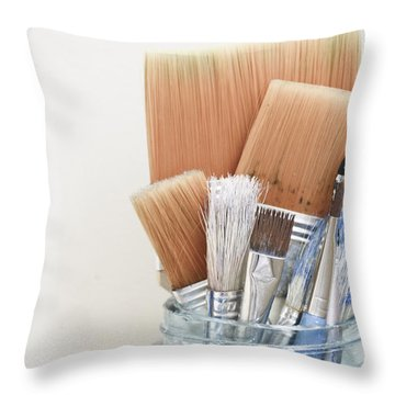 Paint Brushes In Jar Throw Pillow