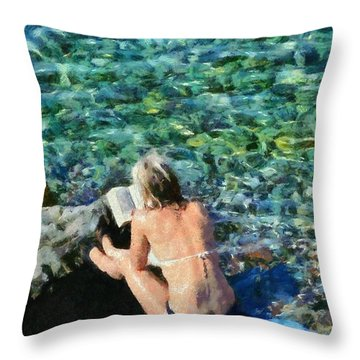 Painting Of Woman In Hydra Island Throw Pillow