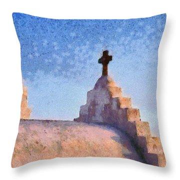 Panagia Paraportiani Church In Mykonos Island Throw Pillow by George Atsametakis