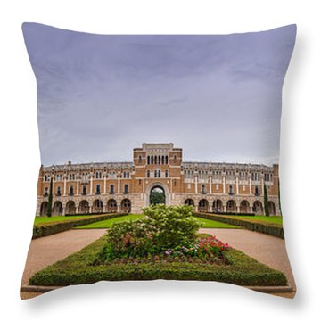 Panorama Of Rice University Academic Quad - Houston Texas Throw Pillow