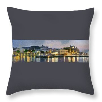 Panoramic View Of Spetses Town Throw Pillow