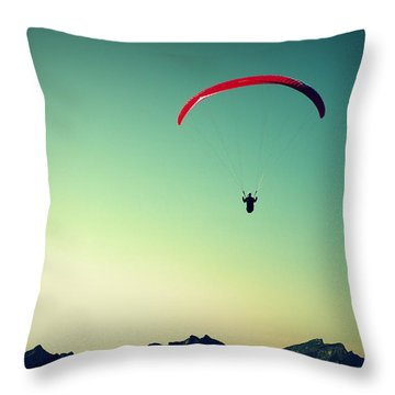 Paraglider Throw Pillow by Chevy Fleet