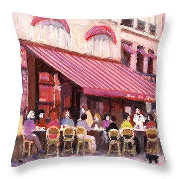 Paris Cafe Bar Throw Pillow