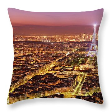 Paris Cityscape At Night / Paris Throw Pillow