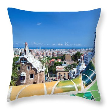 Park Guell In Barcelona Throw Pillow by Michal Bednarek