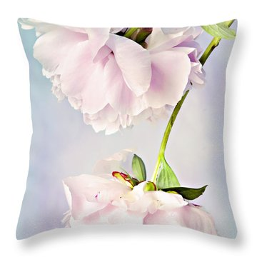 Pastel Peonies Throw Pillow by Theresa Tahara