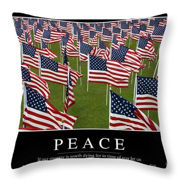 Peace Inspirational Quote Throw Pillow by Stocktrek Images