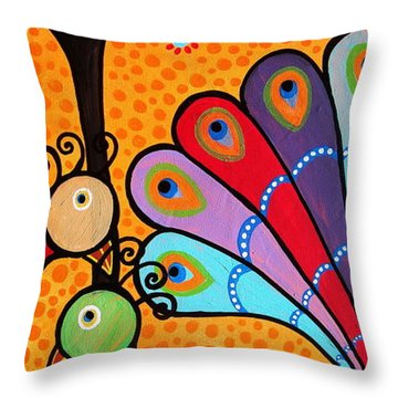 2 Peacocks And Tree Throw Pillow by Pristine Cartera Turkus