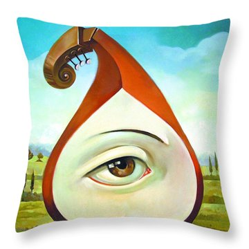 Musical Pear Throw Pillow by Filip Mihail