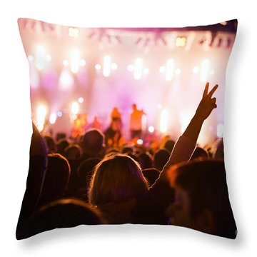 People On Music Concert Throw Pillow by Michal Bednarek