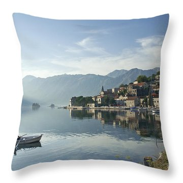 Perast Village In Montenegro Throw Pillow