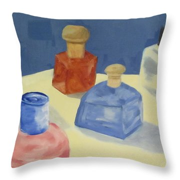 Perfume Bottles Throw Pillow by Patricia Cleasby