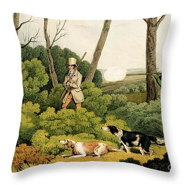 Pheasant Shooting Throw Pillow by Henry Thomas Alken