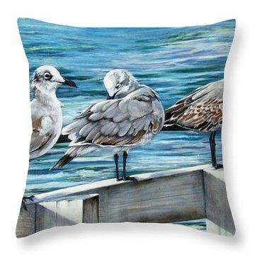Pier Gulls Throw Pillow