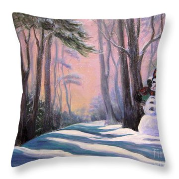 Piggyback Ride In Snow Throw Pillow by Gretchen Talmage Allen