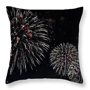 Throw Pillow featuring the photograph Pink Fireworks by Lilliana Mendez