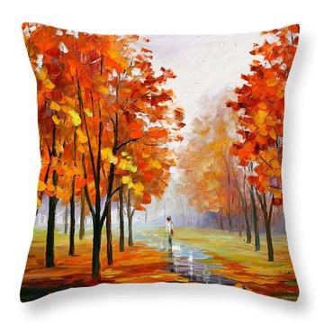 Pink Fog Throw Pillow by Leonid Afremov