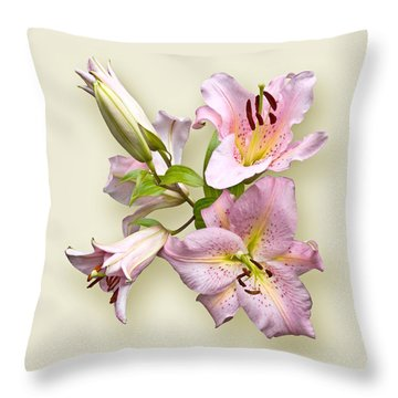 Pink Lilies On Cream Throw Pillow by Jane McIlroy