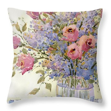 Pink Roses And Lilacs Throw Pillow