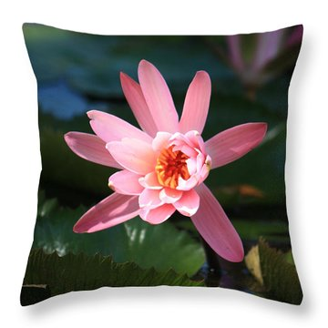 Pink Water Lilly Throw Pillow