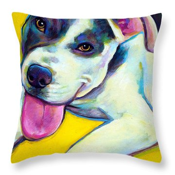Throw Pillow featuring the painting Pit Bull Puppy by Robert Phelps