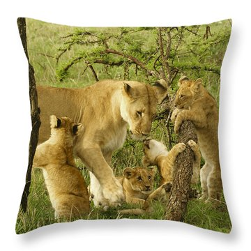 Playing With Mom Throw Pillow