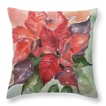 Poinsettias Throw Pillow by Geeta Biswas