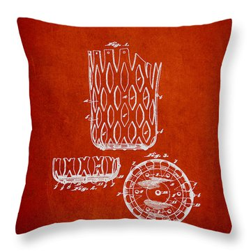 Poll Table Pocket Patent Drawing From 1916 Throw Pillow by Aged Pixel