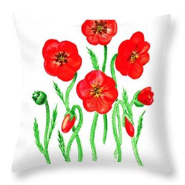 Poppies Throw Pillow by Irina Sztukowski