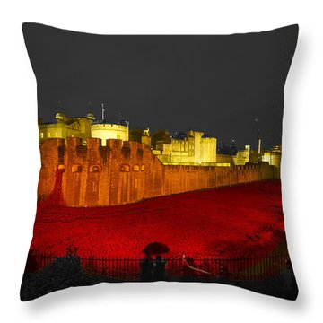 Poppies Tower Of London Night   Throw Pillow