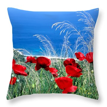 Throw Pillow featuring the photograph Poppy Flowers by George Atsametakis