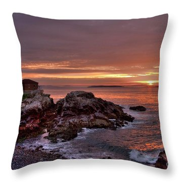 Portland Head Lighthouse Sunrise Throw Pillow by Alana Ranney