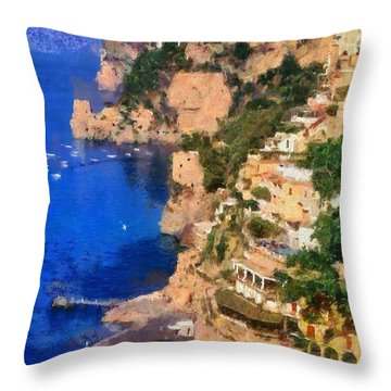 Positano Town In Italy Throw Pillow