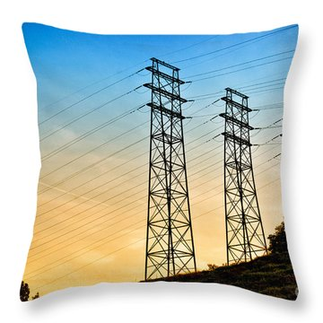 Power Lines Throw Pillow by Amy Cicconi