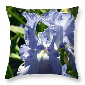 Purple Bearded Iris Throw Pillow by Ellen Henneke