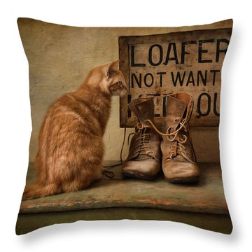 Puss N Boots Throw Pillow by Robin-Lee Vieira