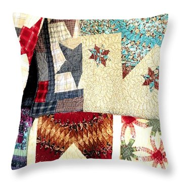 Throw Pillow featuring the photograph Quilts For Sale by Janette Boyd