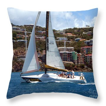 Racing At St. Thomas 1 Throw Pillow
