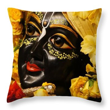 Radha Krishna Idol Hinduism Religion Religious Spiritual Yoga Meditation Deco Navinjoshi  Rights Man Throw Pillow by Navin Joshi