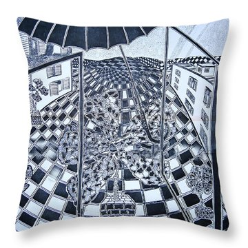 Throw Pillow featuring the drawing Rain In City by Yury Bashkin