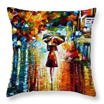 Rain Princess - Palette Knife Landscape Oil Painting On Canvas By Leonid Afremov Throw Pillow